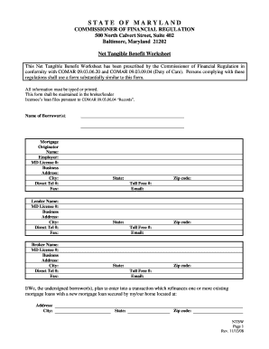 Maryland Net Tangible Benefit Worksheet - Fill Online, Printable ...