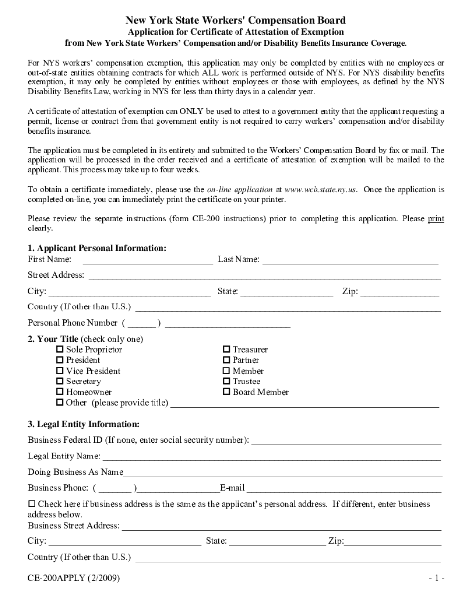 workers comp exemption application