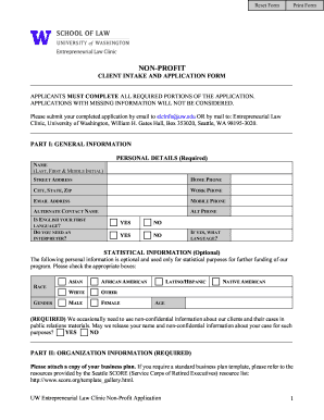 Intake Applications For Clients A Nonprofit Form