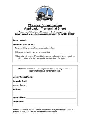 workers compensation application transmittal sheet form