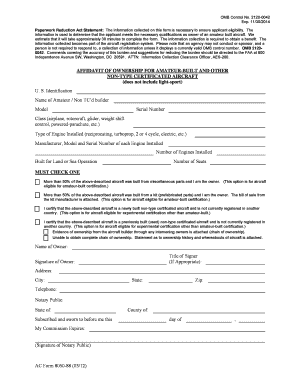 ac 8050 88a affidavit of ownership form