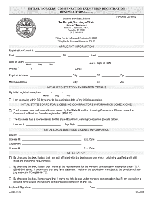 Tn Workers Compensation Exemption - Fill Online, Printable ...