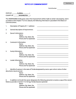 Florida Notice Of Commencement Fillable Form - Fill Online ...
