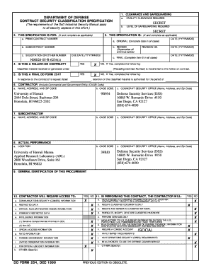 Fillable Online hawaii DD Form 254. DOD Contract Security ...