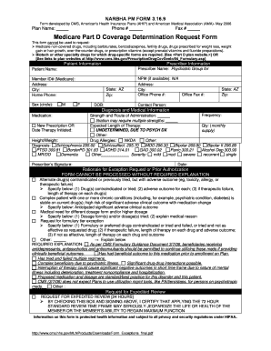 Fillable Online narbha PM Form 3.16.9 Medicare Part D Coverage ...