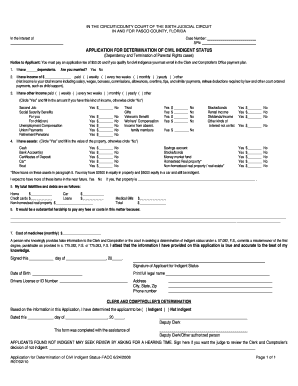 Indigent Application - Fill Online, Printable, Fillable, Blank ...