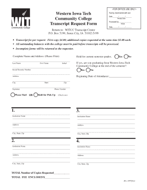 How Can I Get My Unofficial Transcripts From Western Iowa Tech Community College Form