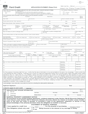 ford credit application fill online printable fillable