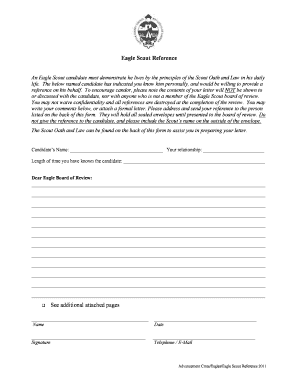 Eagle Scout Recommendation Form Sccbsa - Fill Online, Printable ...