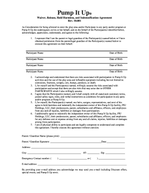 graphic relating to Free Printable Trampoline Waiver Form identified as pump it up waiver kind pdf - Edit, Print Down load Fillable