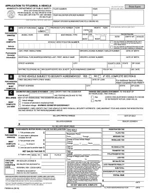 Mn dmv forms fill online printable fillable blank for Dmv motor vehicle report