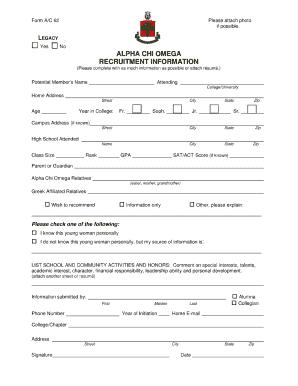 Alpha Chi Omega Recommendation Form Okla State - Fill Online ...