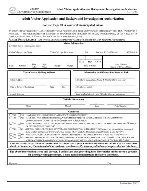 Visitation Form Vadoc Virginia - Fill Online, Printable, Fillable ...