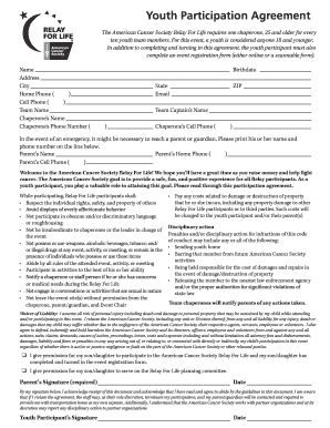 Relay For Life Parent Release Form Fill Online