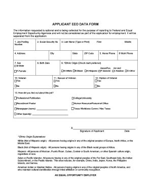 Applicant Eeo Data Form California - Fill Online, Printable ...