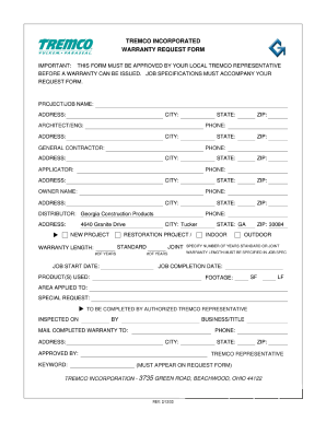 Tremco Warranty Request Fill Online Printable Fillable