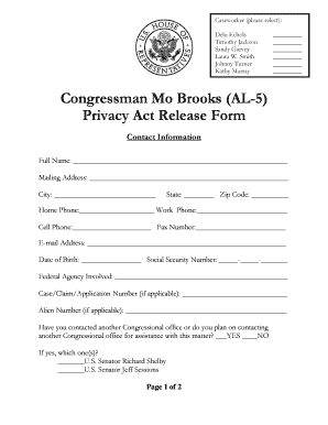 Lovely Mo Brooks Privacy Release Form