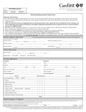 2009 Davis Vision Direct Reimbursement Claim Form Fill Online