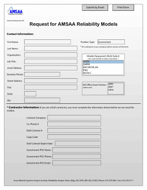 amsaa reliability scorecard form