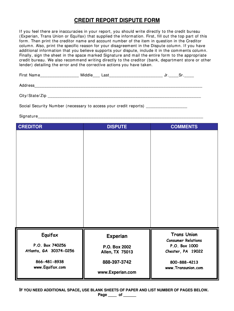 Transunion Dispute Form - Fill Online, Printable, Fillable, Blank