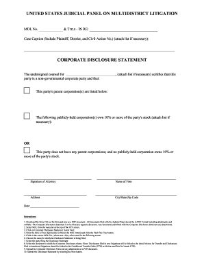 Multidistrict Litigation Corporate Disclosure Statement - Fill ...