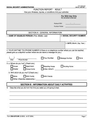 form ssa 3373 bk fillable