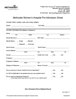 Hospital Admittance Form Fill Online Printable