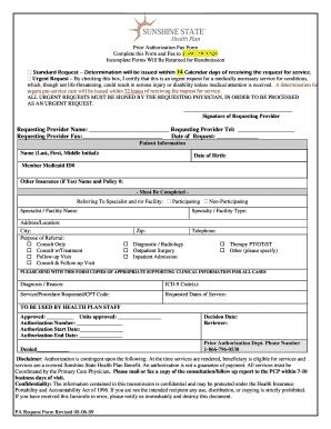 Sunshine State Insurance Prior Authorization