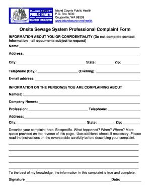 Professional Discipline Complaint Form   Islandcountyeh