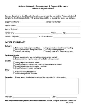 Letter of complaint to employer forms and templates fillable vendor complaint form auburn university auburn spiritdancerdesigns Gallery
