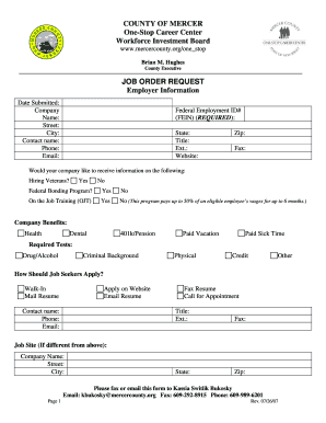 new jersey job order form