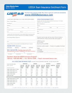 Usssa Team Insurance Enrollment Form - Fill Online