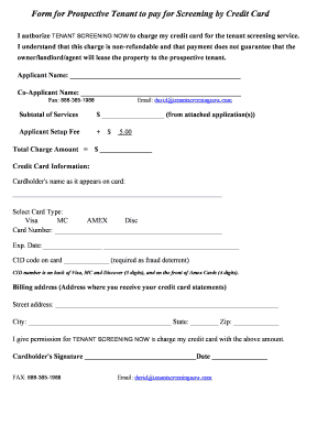 Online fillable application form for prospective tenants