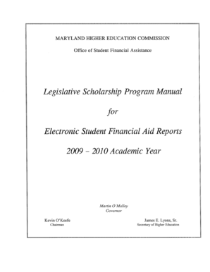 Legislative Scholarship Manual - mhec maryland