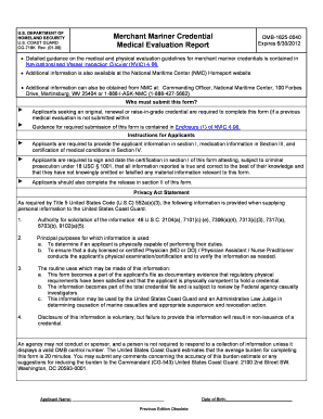 Uscg Merchant Mariner Credential Medical Evaluation Report - Fill ...