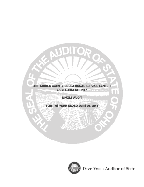 ASHTABULA COUNTY EDUCATIONAL SERVICE CENTER ASHTABULA COUNTY SINGLE AUDIT FOR THE YEAR ENDED JUNE 30, 2011 ASHTABULA COUNTY EDUCATIONAL SERVICE CENTER ASHTABULA COUNTY TABLE OF CONTENTS TITLE PAGE Independent Accountants Report