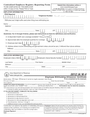centralized employee registry reporting form 2012