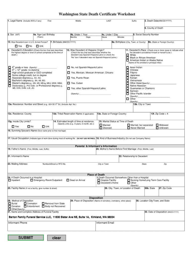 Death Certificate Form Fill Online Printable Fillable