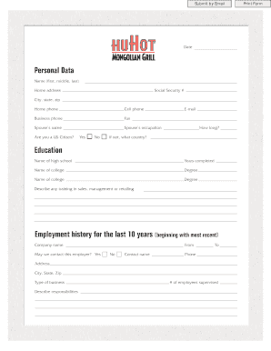 personal data sheet for employment