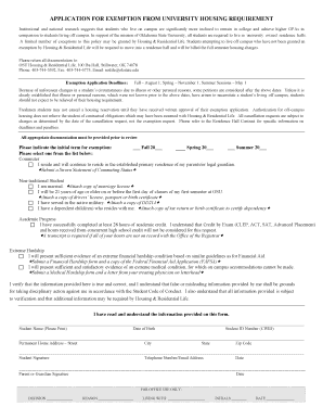 reslife okstate Fillable Online reslife okstate APPLICATION FOR EXEMPTION FROM ...