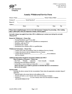 Aaa Annuity Withdrawal Form - Fill Online, Printable, Fillable ...