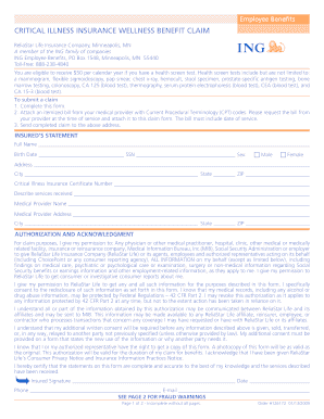 Aflac Critical Illness Wellness Benefit Claim Form - Fill Online ...