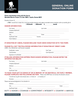 wounded warrior project general donation form fillable