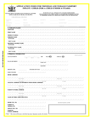 immigration forms printable under 16 years of age