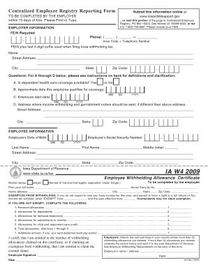Fillable Online fit Iowa W4 withholding tax certificate - fit Fax ...
