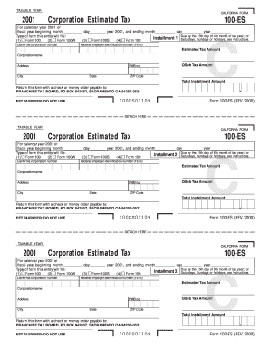 Fillable Online ftb ca Form 100-ES - California Franchise Tax ...