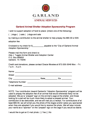 city of garland prepaid adoption form