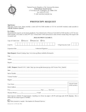 Fillable Online dar Photocopy Request Form - DAR - dar Fax Email ...