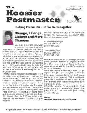 Change, Change, Change and More Changes - indianapostmasters