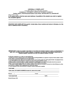 general complaint forms